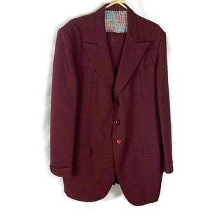 Vintage Lasso Western Wear Burgundy Blazer Suit